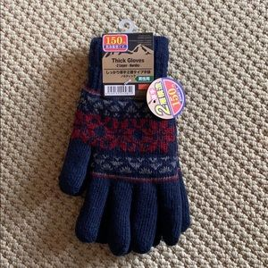 NWT Mens Daiso Japan Thick Gloves 2 Layer Nordic🧤